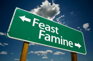 """""""Feast or Famine"""" Road Sign with dramatic clouds and sky"""