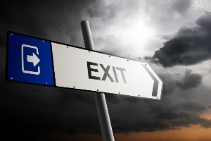 Exit direction. Blue traffic sign.