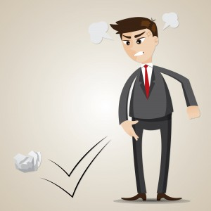 cartoon angry businessman throwing crumple paper